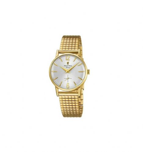 F20257/1 Festina Gold Plated Ladies Round Expanding Bracelet Watch